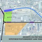 """positionnement possible d'une gare terminus """"CHU"""""""